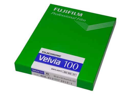 Fuji Velvia 100 5x4 inch large format colour transparency film (20-sheet box)
